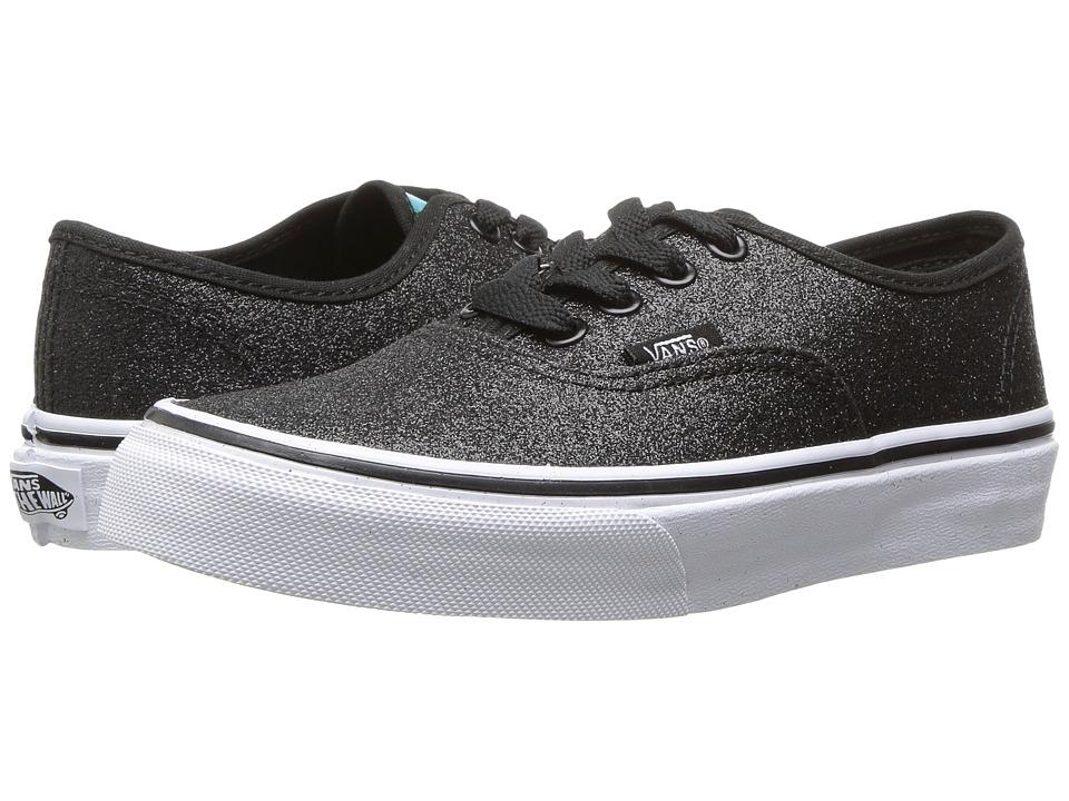 Vans Kids Authentic (Little Kid/Big Kid) ((Glitter & Iridescent) Black/True White) Girls Shoes