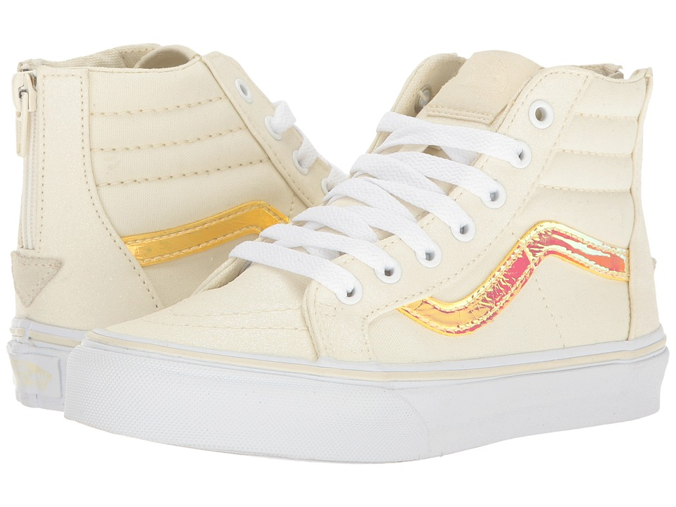 Vans Kids Sk8-Hi Zip (Little Kid/Big Kid) ((Glitter & Iridecent) White/True White) Girls Shoes