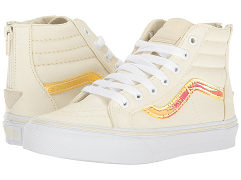 Vans Kids Sk8-Hi Zip (Little Kid/Big Kid) - (Glitter & Iridecent) White/True White