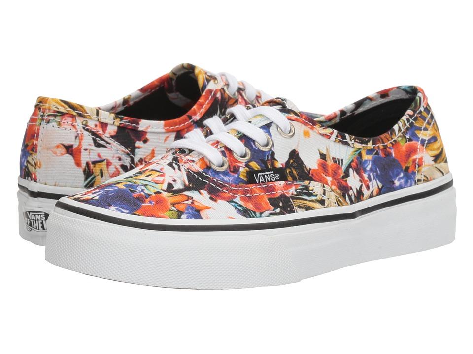 Vans Kids Authentic (Little Kid/Big Kid) ((Cuban Floral) Black/True White) Girls Shoes