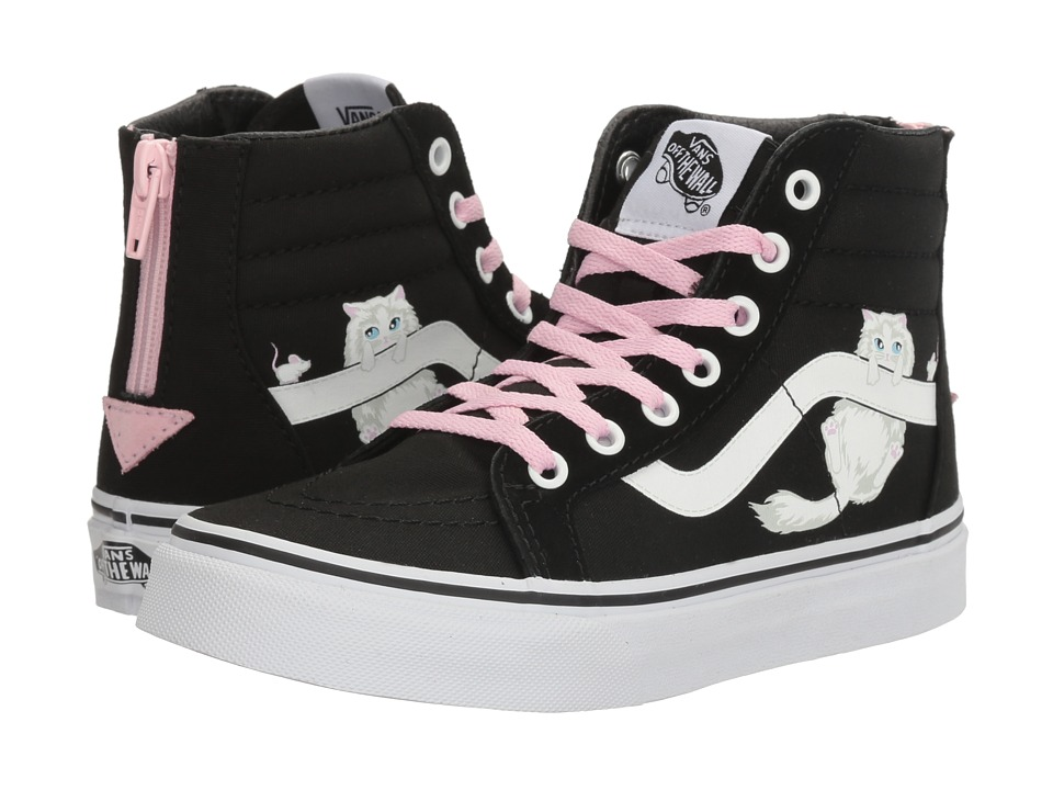 Vans Kids Sk8-Hi Zip (Little Kid/Big Kid) ((Hidden Kittens) Black/True White) Girls Shoes