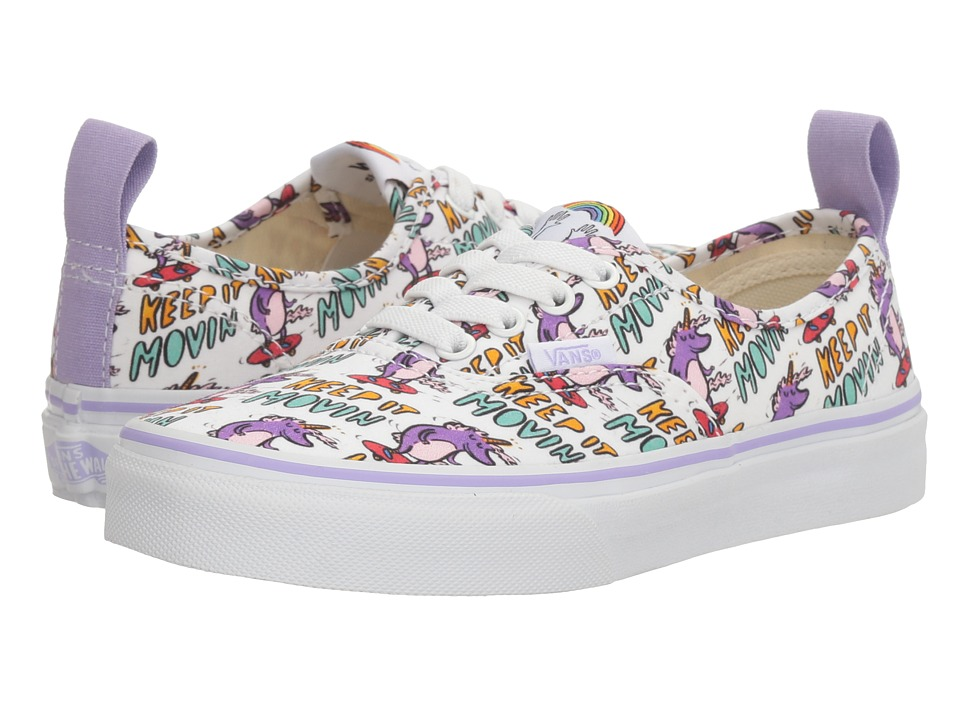 Vans Kids - Authentic Elastic Lace x Dallas Clayton (Little Kid/Big Kid) ((Dallas Clayton) Skating Unicorns/True White) Kids Shoes