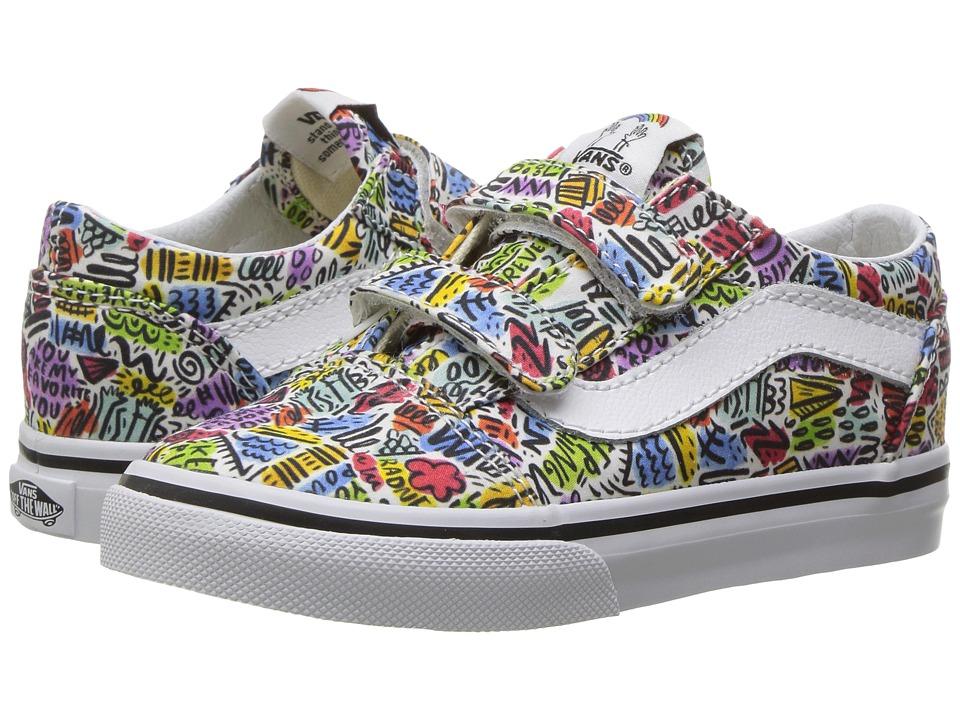 Vans Kids Old Skool V x Dallas Clayton (Toddler) ((Dallas Clayton) Doodle/True White) Kids Shoes