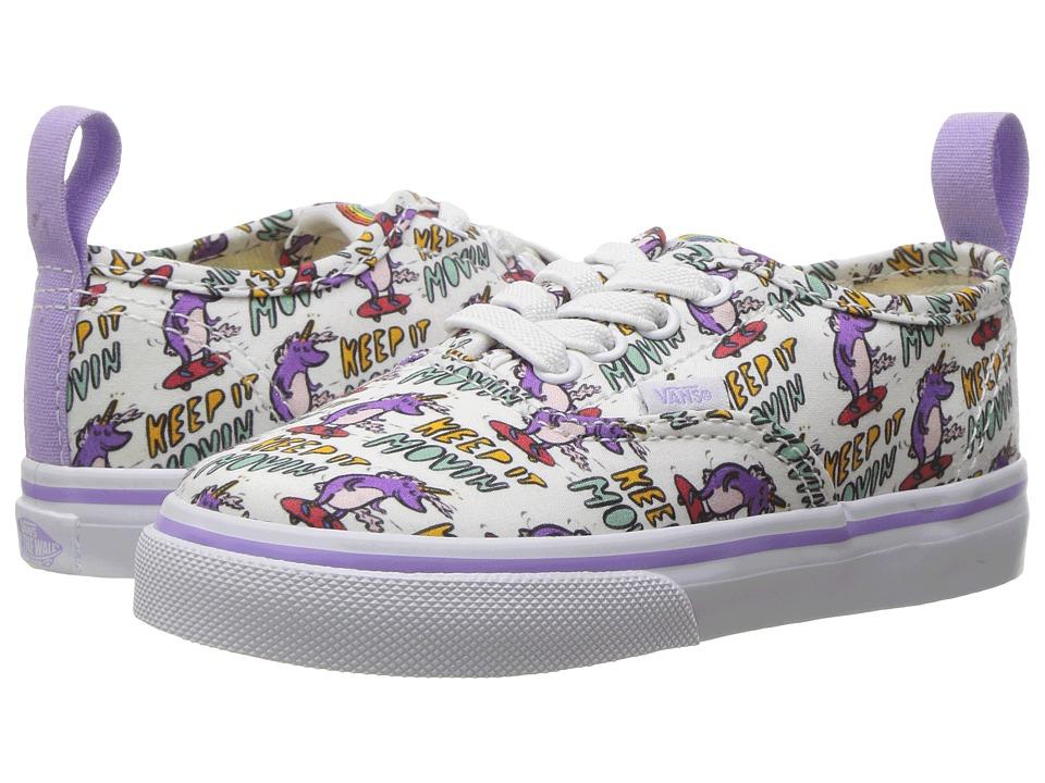 Vans Kids Authentic Elastic Lace x Dallas Clayton (Toddler) ((Dallas Clayton) Skating Unicorns/True White) Kids Shoes
