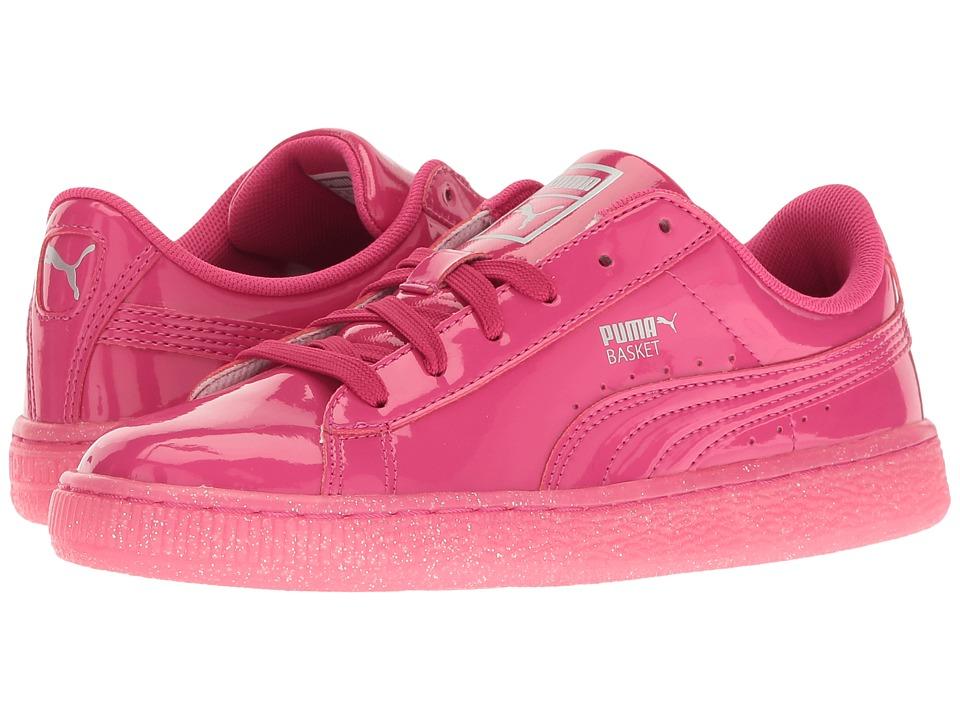 Puma Kids Basket Patent Iced Glitter Jr (Big Kid) (Beetroot Purple/Beetroot Purple) Girls Shoes