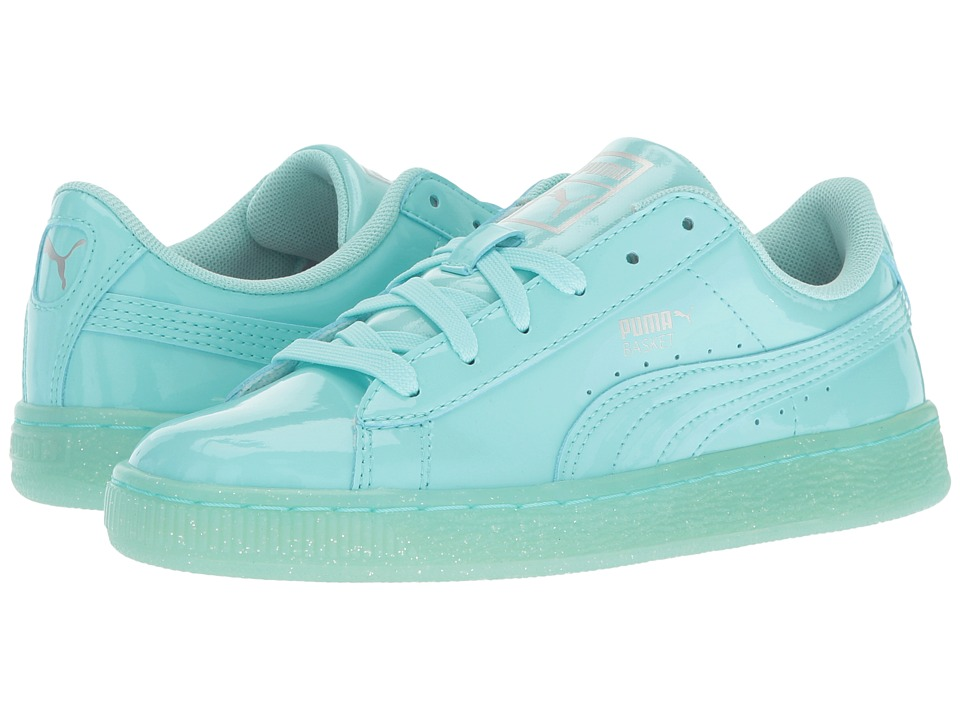 Puma Kids Basket Patent Iced Glitter Jr (Big Kid) (Aruba Blue/Aruba Blue) Girls Shoes