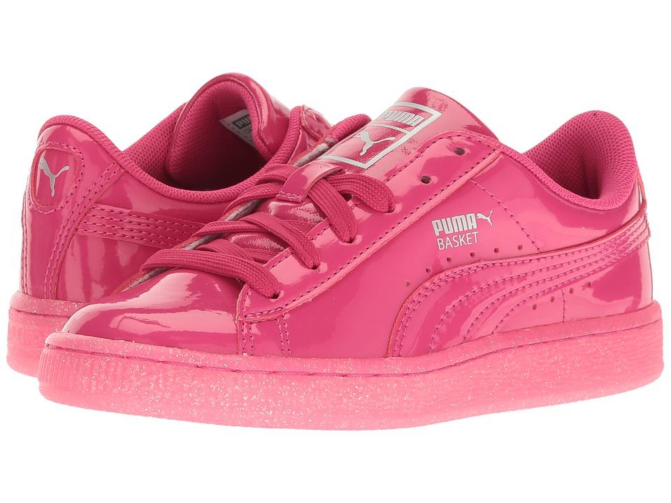Puma Kids Basket Patent Iced Glitter PS (Little Kid/Big Kid) (Beetroot Purple/Beetroot Purple) Girls Shoes