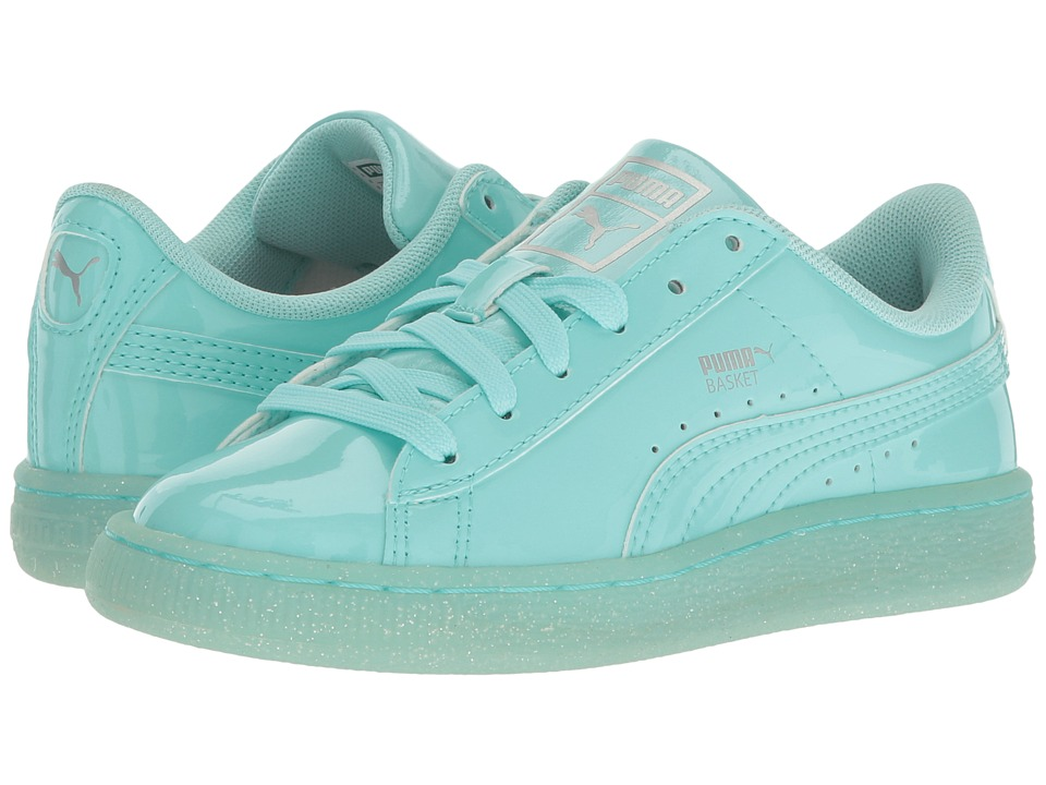 Puma Kids Basket Patent Iced Glitter PS (Little Kid/Big Kid) (Aruba Blue/Aruba Blue) Girls Shoes