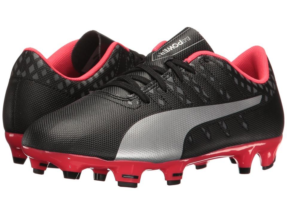 Puma Kids evoPower Vigor 4 FG Jr Soccer (Little Kid/Big Kid) (Puma Black/Puma Silver/Quiet Shade/Bright Plasma) Kids Shoes