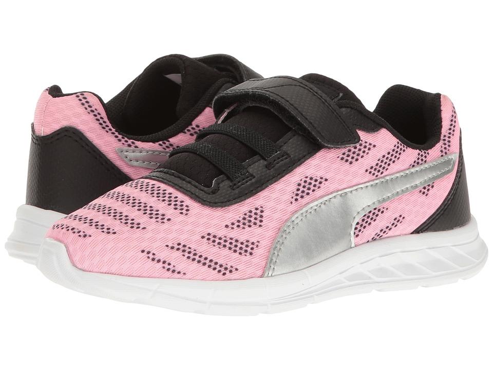 Puma Kids Meteor V PS (Little Kid/Big Kid) (Soft Fluo Pink/Puma Silver) Girls Shoes