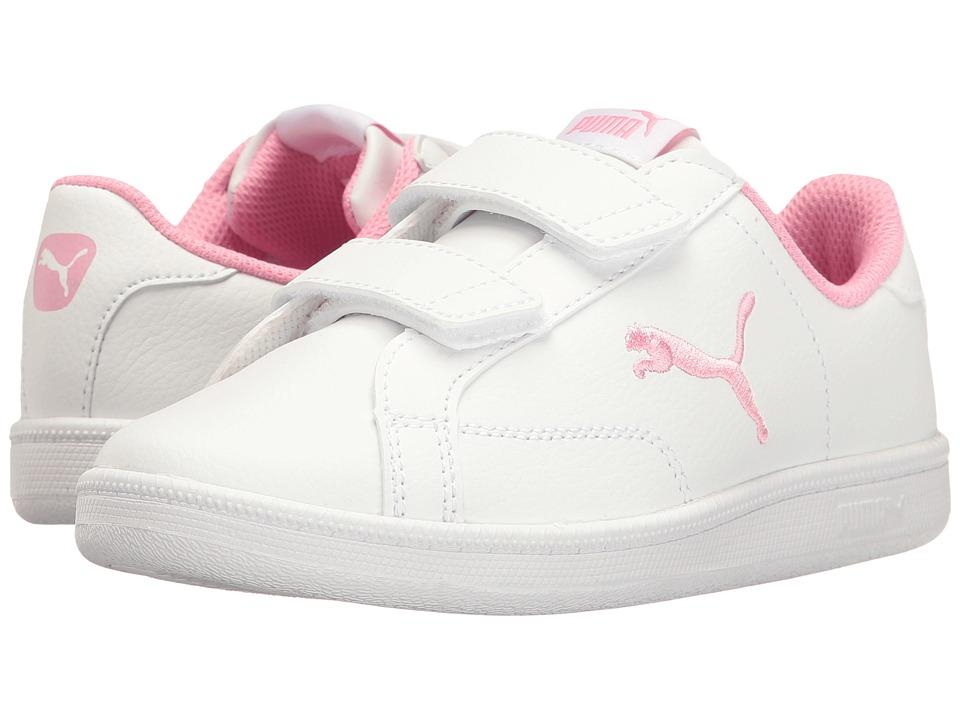 Puma Kids Smash Cat L V PS (Little Kid/Big Kid) (Puma White/Prism Pink) Girls Shoes