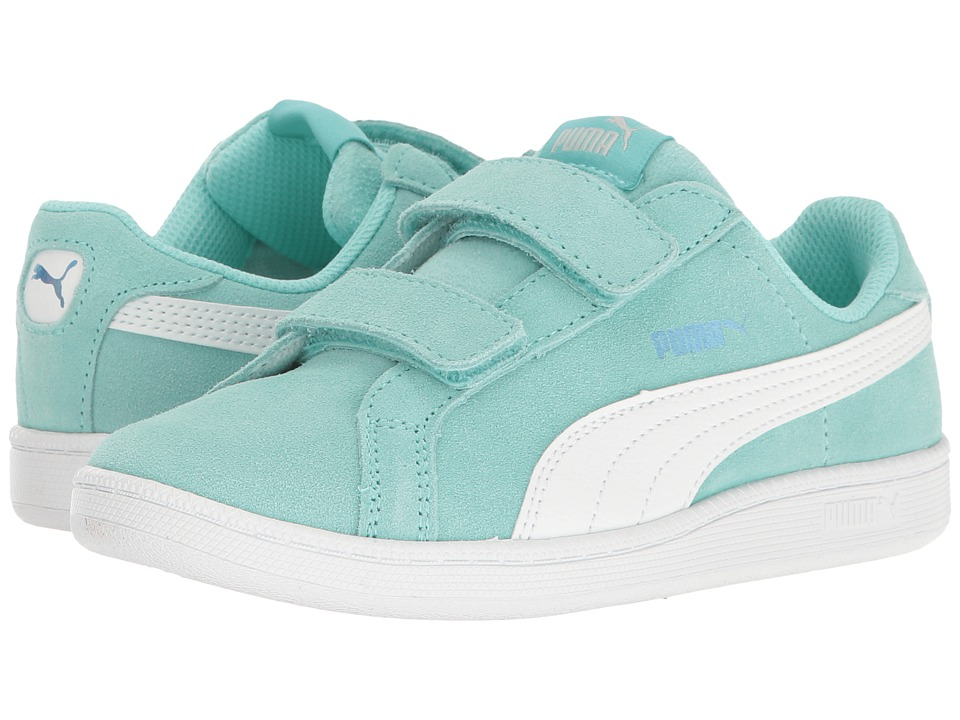 Puma Kids - Smash Fun Suede (Little Kid/Big Kid) (Aruba Blue/Puma White) Girls Shoes