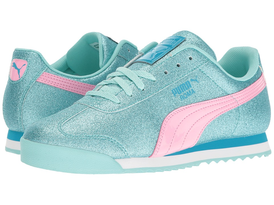 Puma Kids Roma Glitz Glamm Jr (Big Kid) (Aruba Blue/Prism Pink) Girls Shoes