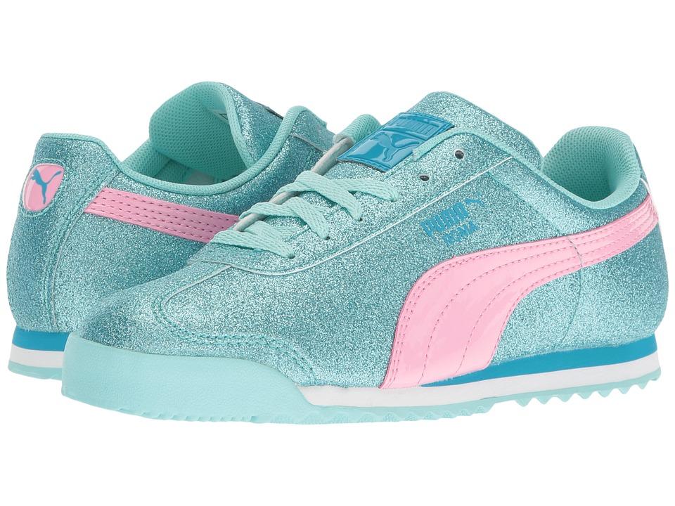 Puma Kids Roma Glitz Glamm PS (Little Kid/Big Kid) (Aruba Blue/Prism Pink) Girls Shoes