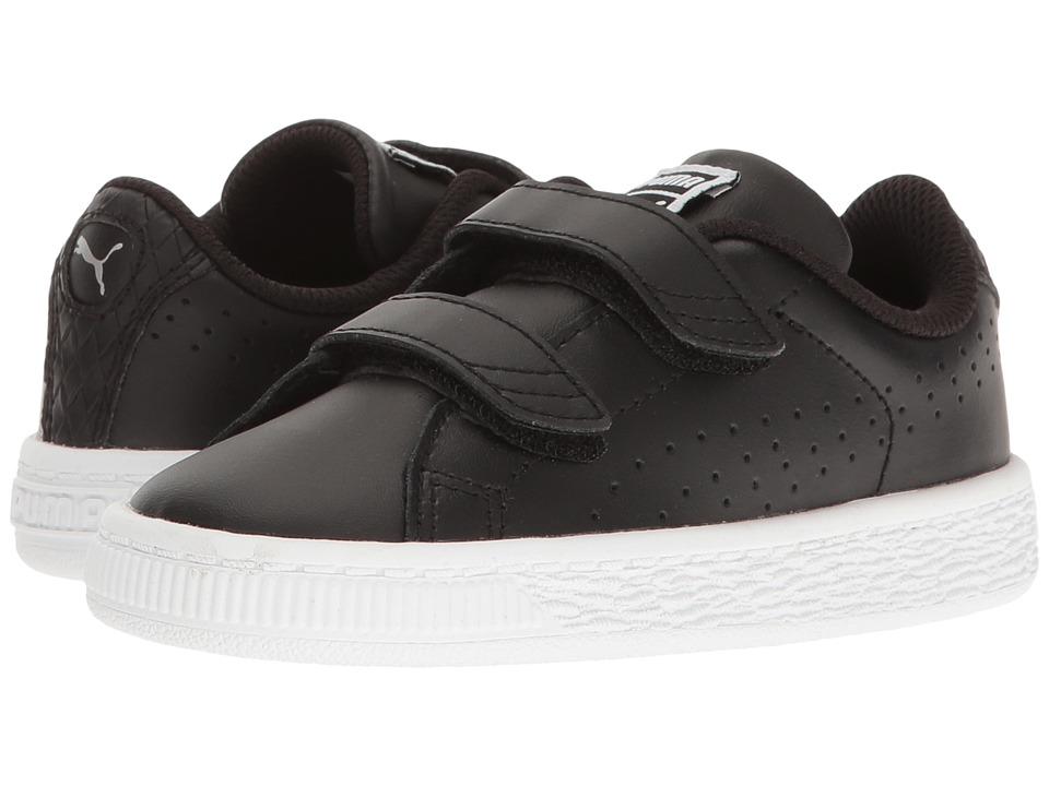 Puma Kids Basket Classic Velcro BW INF (Toddler) (Puma Black/Puma Black) Kids Shoes