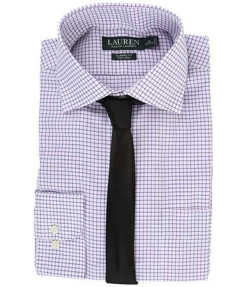 LAUREN Ralph Lauren Twill Check Spread Collar Classic Button Down Shirt - White/Lilac