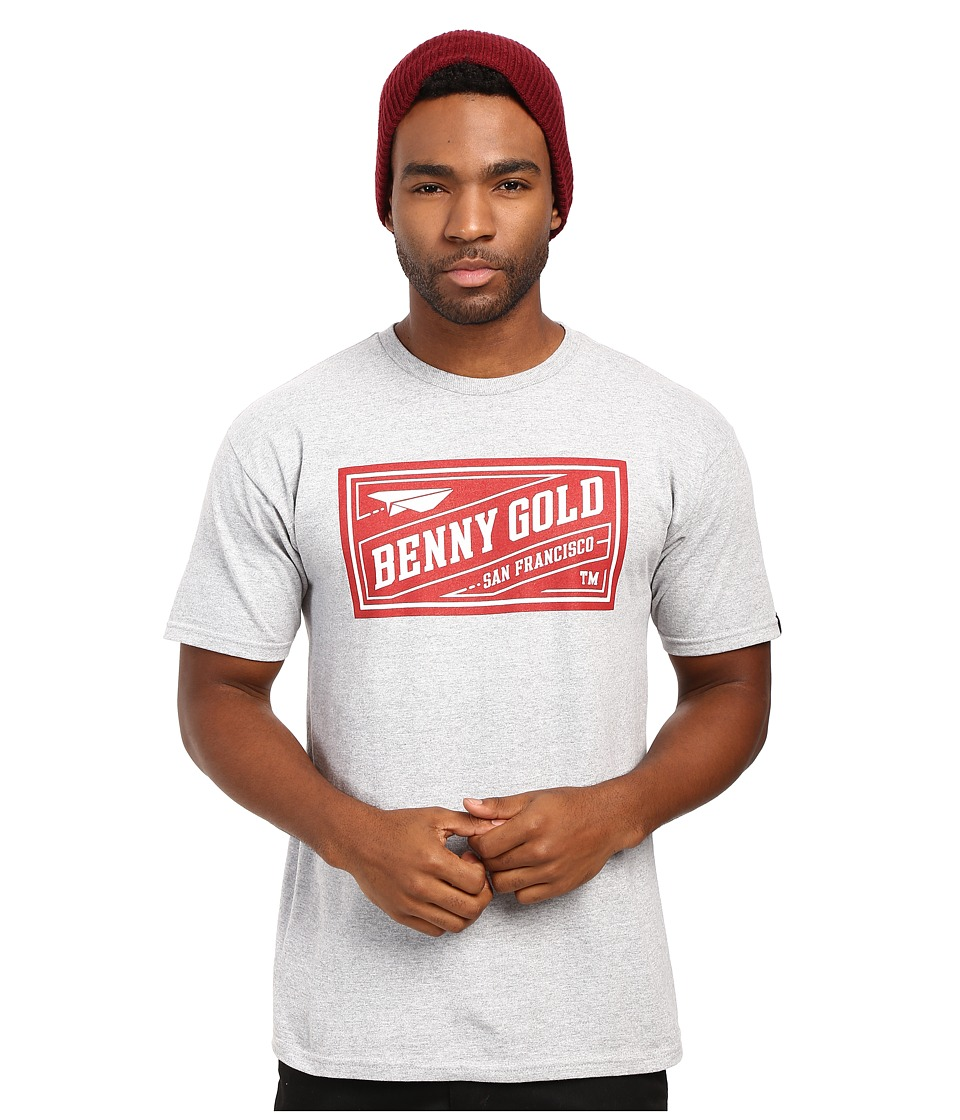 Image of Benny Gold - BG Classics Stamp Tee (Heather Grey/Red) Men's T Shirt