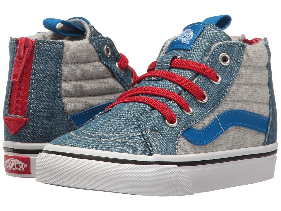 Vans Kids - Sk8-Hi Zip (Toddler) ((Jersey & Denim) Imperial Blue/True White) Boys Shoes