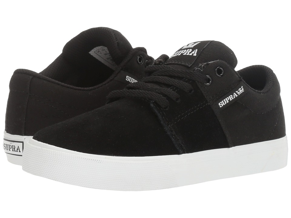 Supra Kids Stacks Vulc II (Little Kid/Big Kid) (Black/White) Boys Shoes