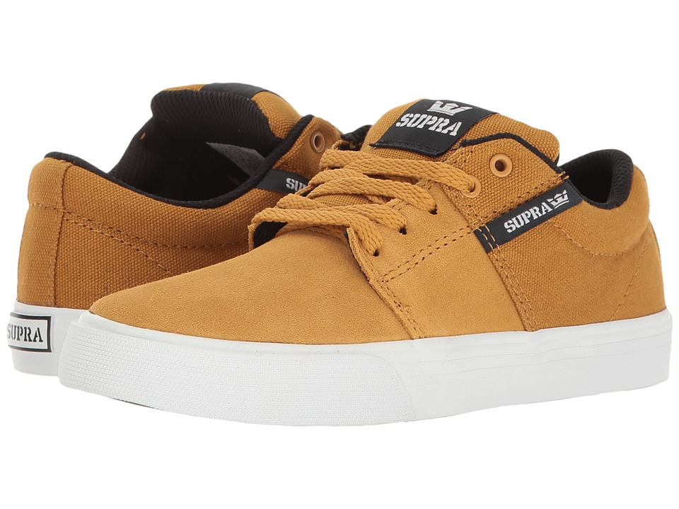 Supra Kids Stacks Vulc II (Little Kid/Big Kid) (Amber Gold/White) Boys Shoes