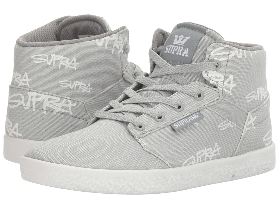 Supra Kids Yorek High (Little Kid/Big Kid) (Grey Print/White) Boys Shoes