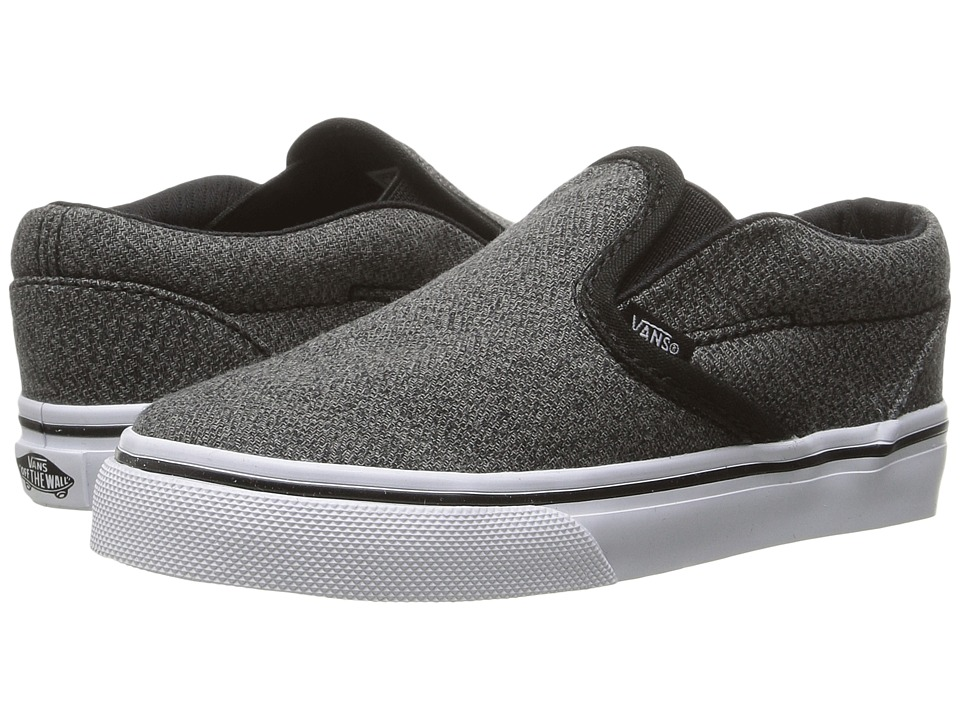 Vans Kids Classic Slip-On (Toddler) ((Suiting) Black/True White) Boys Shoes