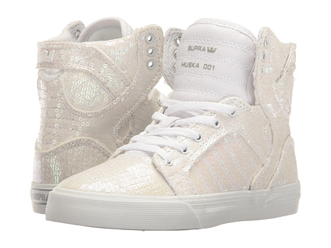Supra Kids Skytop (Little Kid/Big Kid) - White Sequin