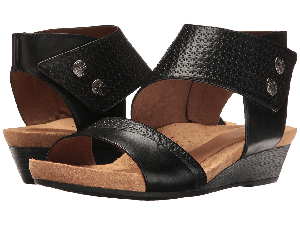 Rockport Cobb Hill Collection Cobb Hill Hollywood Two-Piece Cuff (Black Leather) Sandals