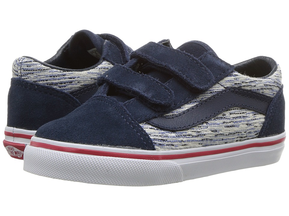 Vans Kids Old Skool V (Toddler) ((Speckle) Dress Blues/True White) Boys Shoes