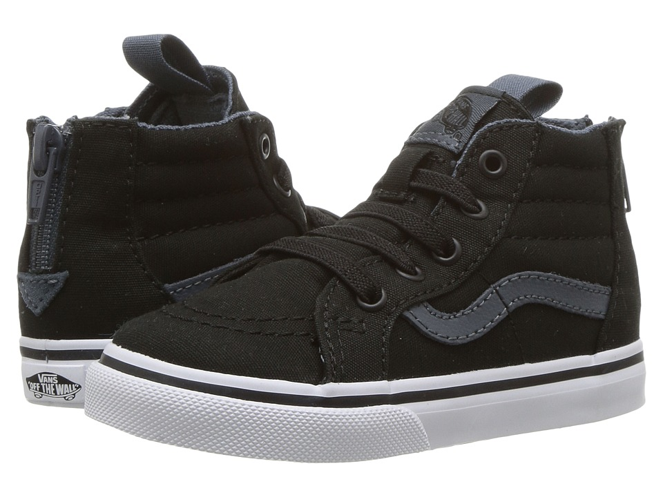 Vans Kids Sk8-Hi Zip (Toddler) ((Canvas) Black/Dark Slate) Boys Shoes