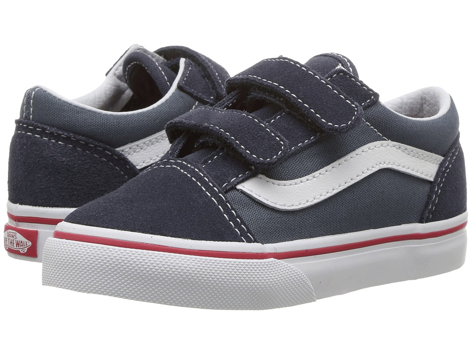 Vans Kids Old Skool V (Toddler) ((Two-Tone) Parisian Night/Dark Slate) Boys Shoes