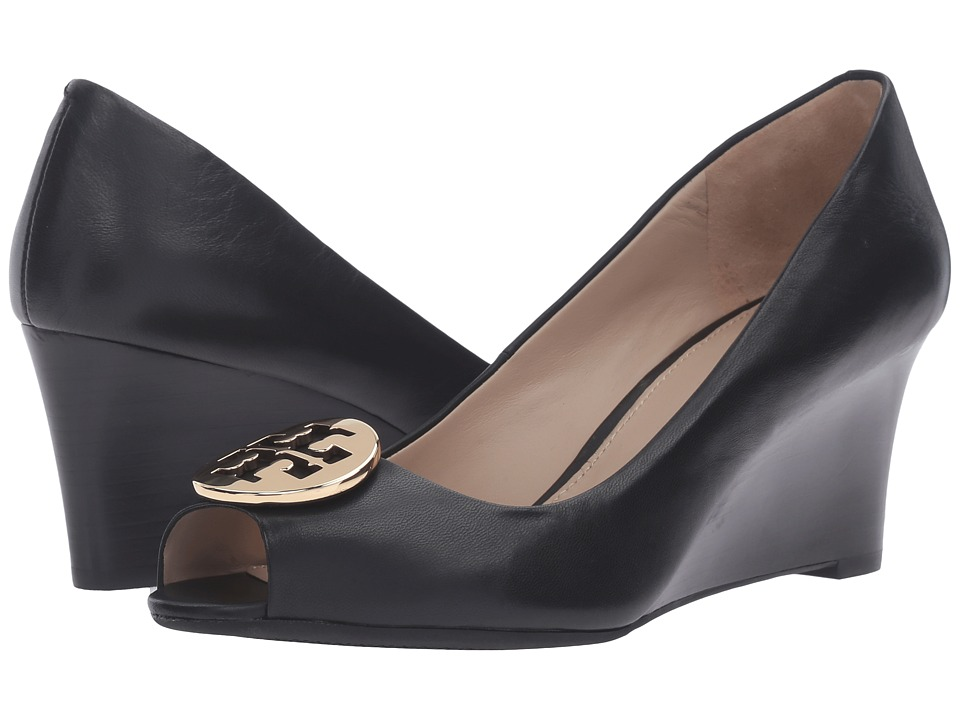 Tory Burch Kara 65mm Wedge (Black) Women's Shoes