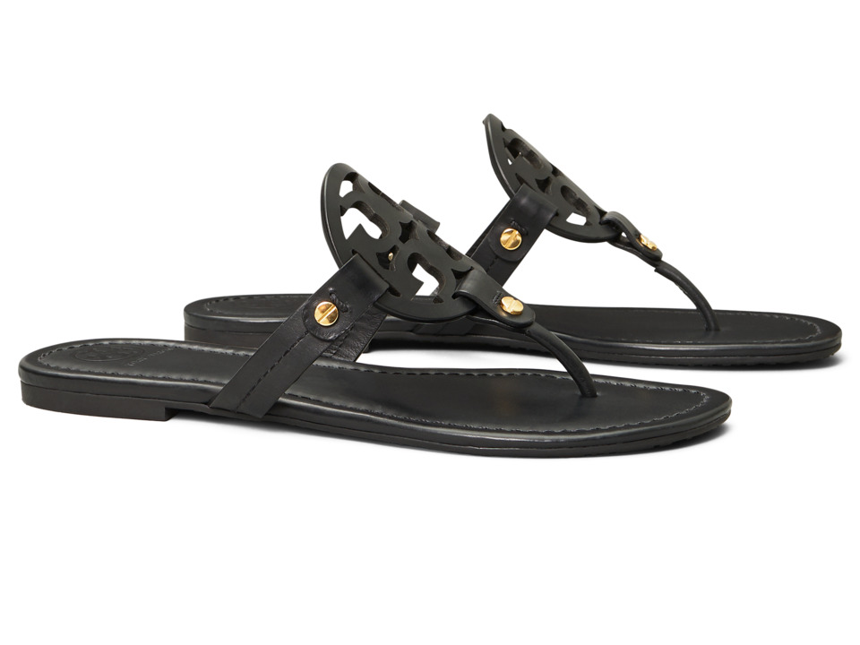 Tory Burch Miller Flip Flop Sandal (Black) Women's Shoes