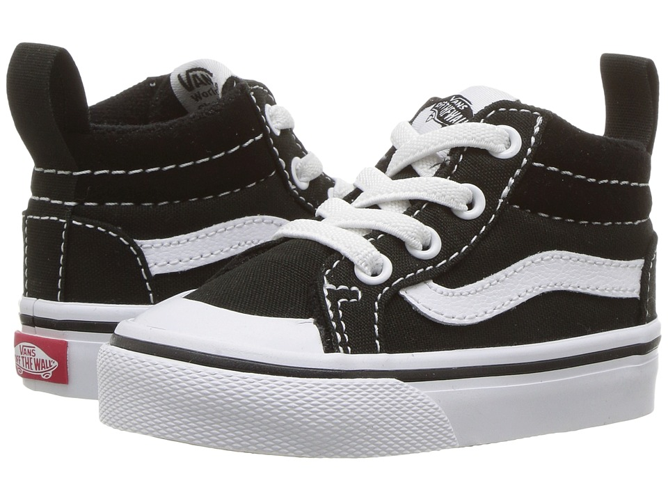 Vans Kids Racer Mid (Toddler) ((Canvas) Black/True White) Boys Shoes