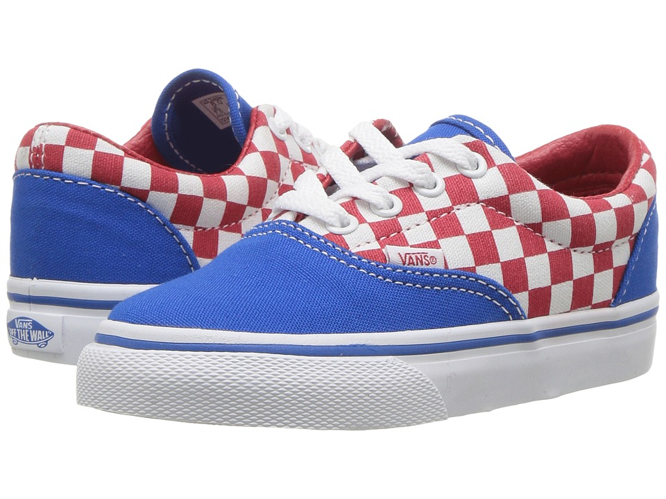 Vans Kids Era (Toddler) ((Checkerboard) Racing Red/Imperial Blue) Boys Shoes