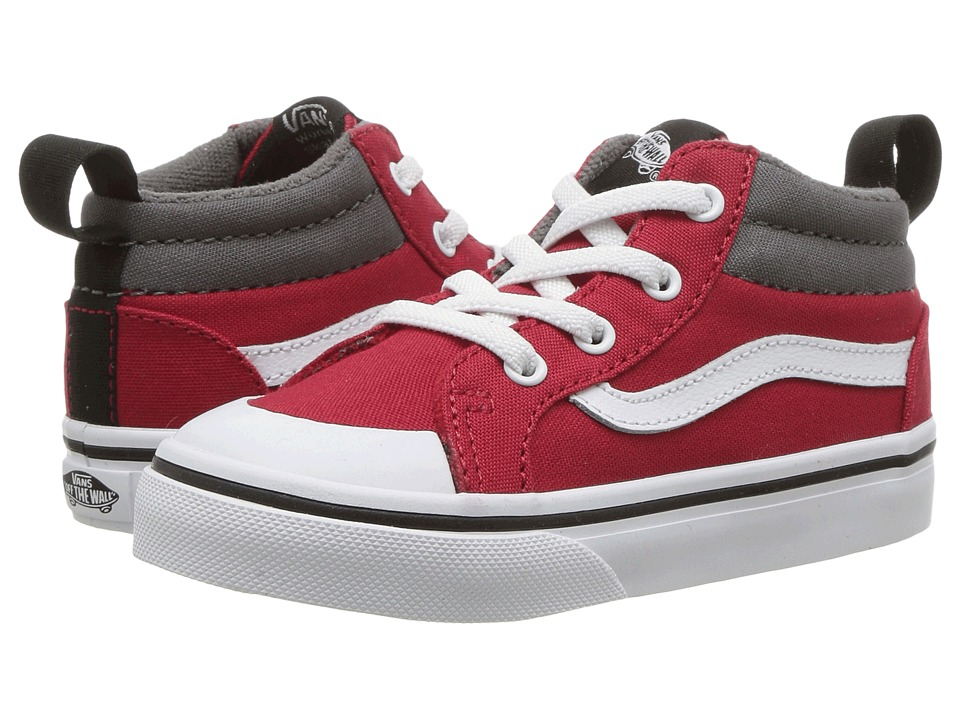 Vans Kids Racer Mid (Toddler) ((Canvas) Racing Red/Pewter) Boys Shoes