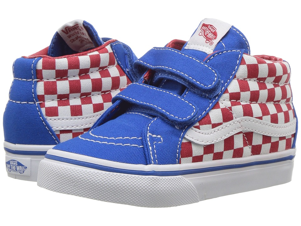 Vans Kids Sk8-Mid Reissue V (Toddler) ((Checkerboard) Racing Red/Imperial Blue) Boys Shoes