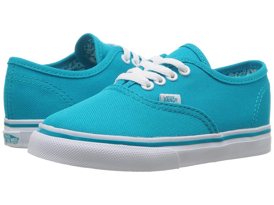 Vans Kids Authentic (Toddler) ((Neon Splatter) Neon Blue/True White) Girls Shoes