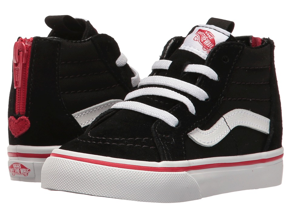 Vans Kids - Sk8-Hi Zip (Toddler) ((Valentines) Black/Racing Red) Girls Shoes