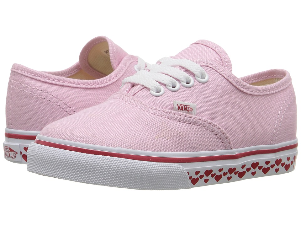 Vans Kids Authentic (Toddler) ((Hearts Tape) Pink Lady/Red) Girls Shoes