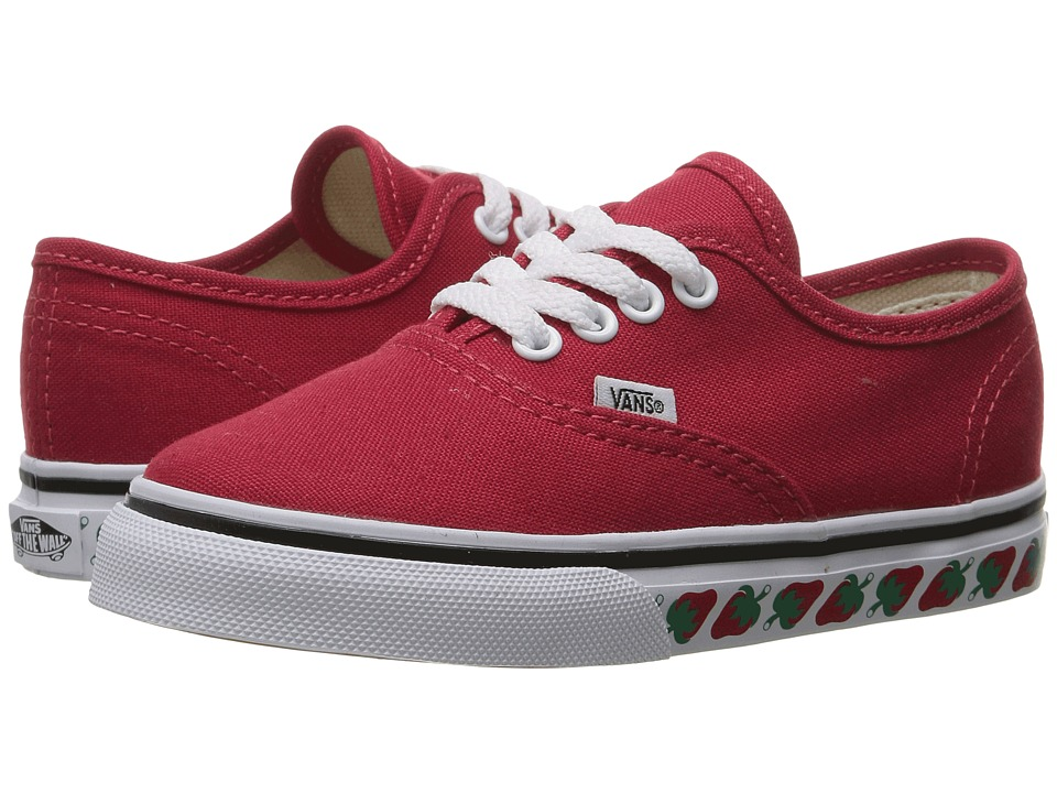 Vans Kids Authentic (Toddler) ((Strawberry Tape) Red/Black) Girls Shoes