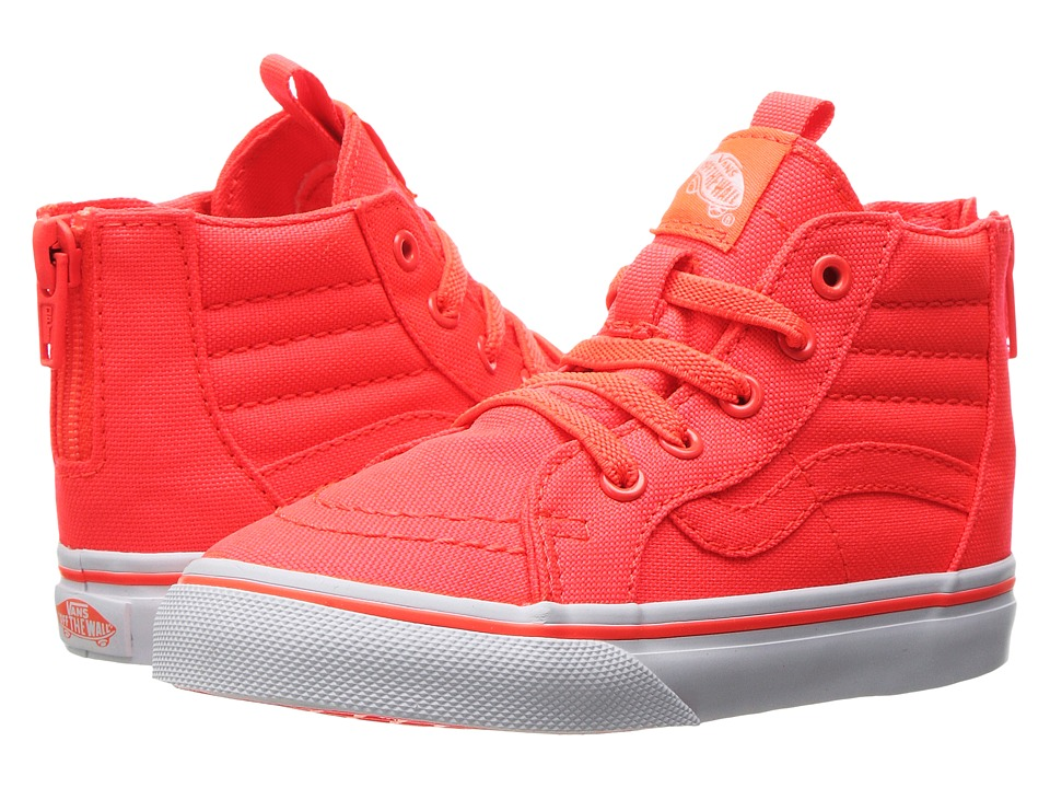Vans Kids - Sk8-Hi Zip (Toddler) ((Neon Canvas) Coral/True White) Girls Shoes