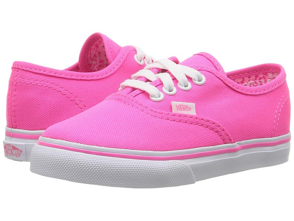 Vans Kids Authentic (Toddler) ((Neon Splatter) Neon Pink/True White) Girls Shoes