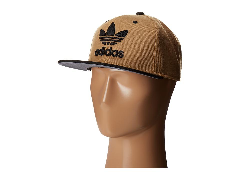 adidas - Original Trefoil Chain Snapback Cap (Dark Khaki/Black) Caps