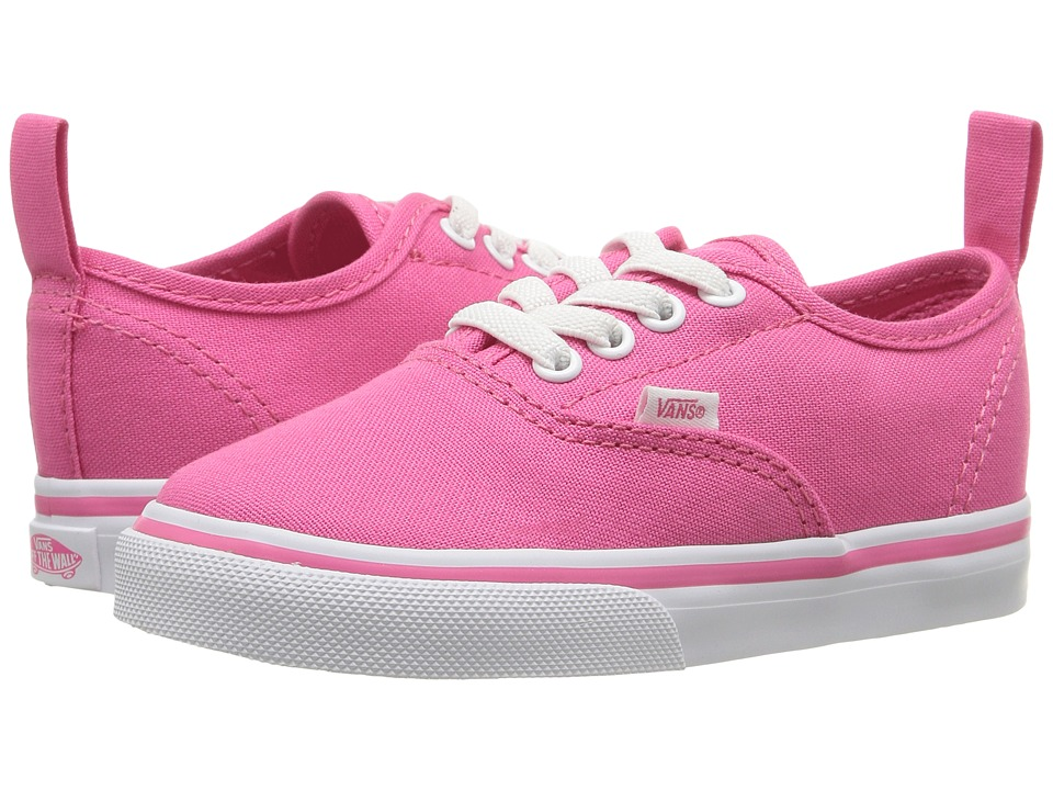 Vans Kids Authentic Elastic Lace (Toddler) (Hot Pink/True White) Girls Shoes