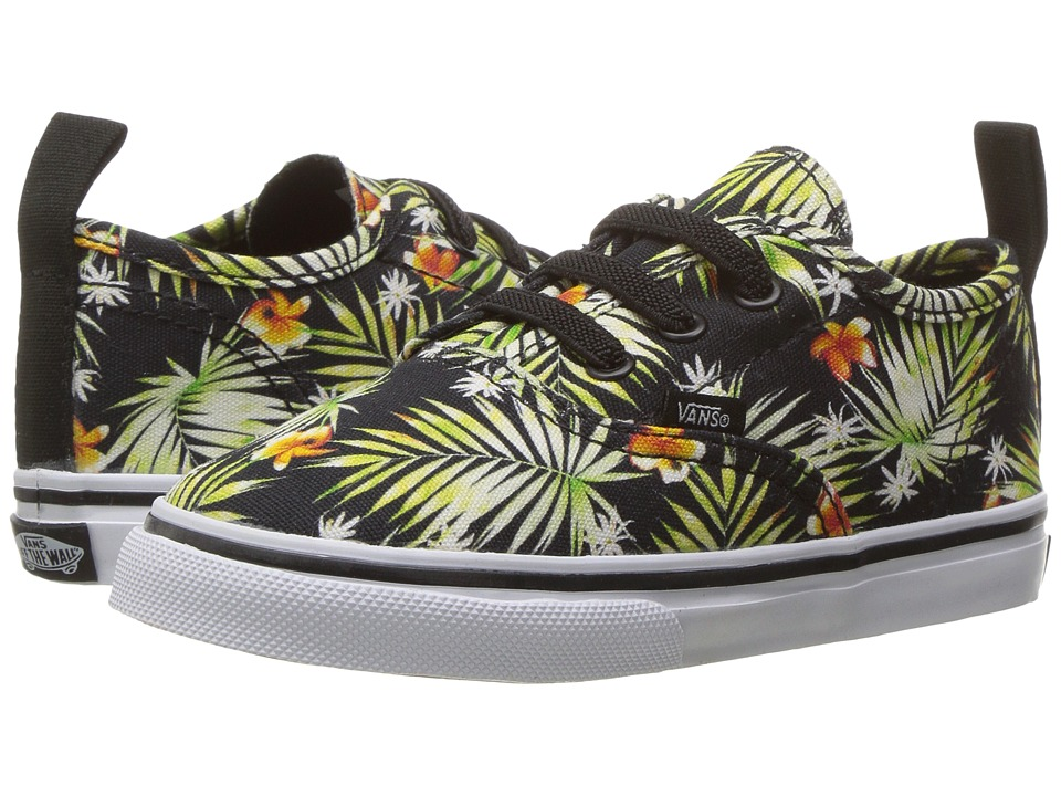 Vans Kids Authentic V Lace (Toddler) ((Decay Palms) Black/True White) Girls Shoes