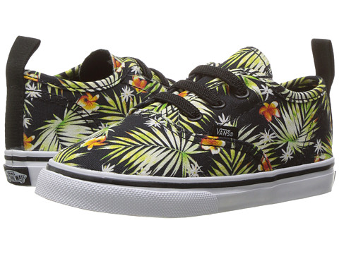 Vans Kids Authentic V Lace (Toddler) - (Decay Palms) Black/True White
