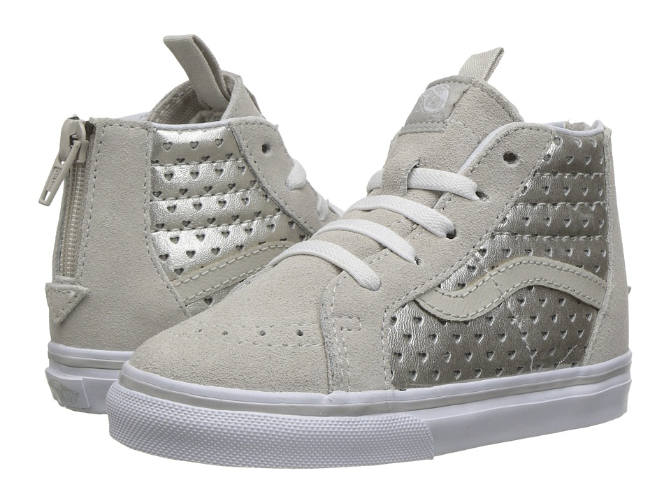 Vans Kids - Sk8-Hi Zip (Toddler) ((Metallic Heart Perf) Silver) Girls Shoes