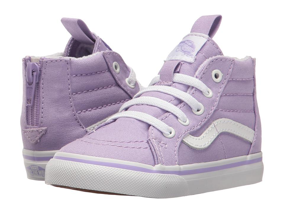 Vans Kids - Sk8-Hi Zip (Toddler) (Lavender/True White) Girls Shoes