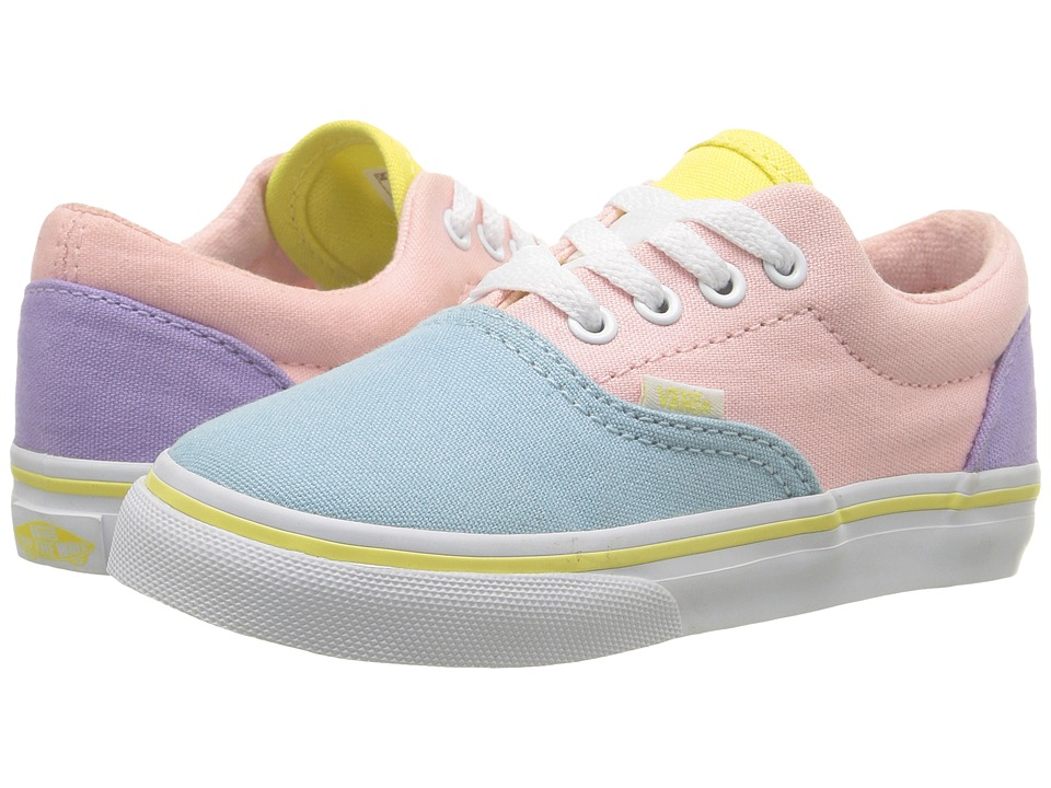 Vans Kids Era (Toddler) ((Pastel Tones) Multi/True White) Girls Shoes